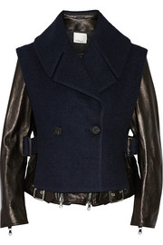 Convertible leather and wool-blend biker jacket