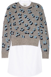 3.1 Phillip Lim Stretch-knit jacquard and cotton Oxford mini dress