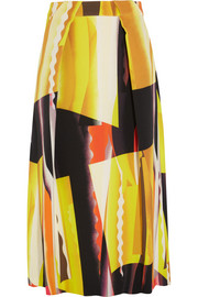 Spray Collage printed stretch-crepe midi skirt