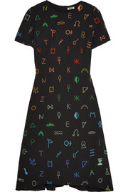 Symbols embroidered crepe dress