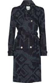 Belted perforated denim coat