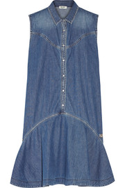 Ruffled denim mini dress