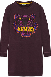 KENZO Tiger embroidered cotton sweatshirt mini dress