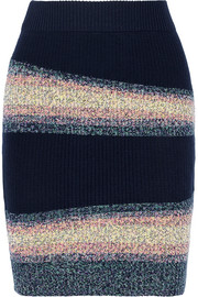 Striped wool-blend mini skirt