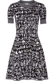 Symbols intarsia cotton and wool-blend mini dress