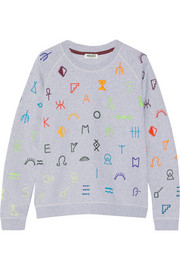 Symbols embroidered cotton-jersey sweatshirt