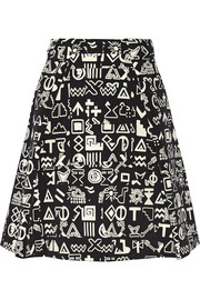Symbols printed stretch-cady skirt
