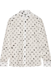 Symbols printed cotton-jacquard shirt