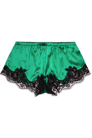 Lace-trimmed silk-blend satin shorts