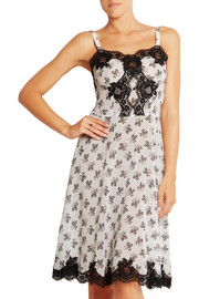 Lace-trimmed floral-print silk-blend georgette chemise