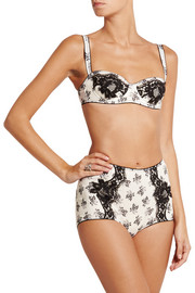 Dolce & Gabbana Lace-trimmed floral-print silk-blend satin briefs