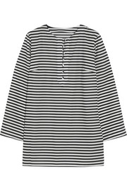 Striped cotton-poplin tunic
