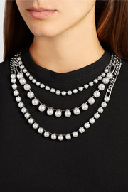 Gunmetal-tone faux pearl necklace