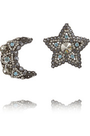 Lanvin Swarovski gunmetal-tone crystal clip earrings
