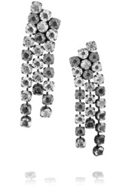 Gunmetal-tone Swarovski crystal clip earrings