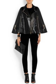 Black leather cape with ribbed panels