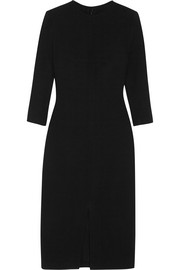 Stretch-wool dress with front split