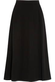 Midi skirt in black stretch wool-crepe
