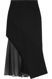 Givenchy Midi skirt in black crepe and silk-chiffon