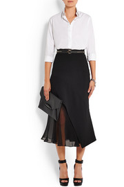 Midi skirt in black crepe and silk-chiffon