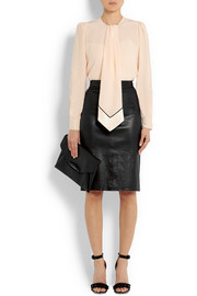 Pencil skirt in black leather