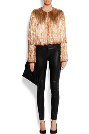 Fringed jacket in gold silk-satin