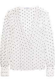 Cross-print blouse in silk-gauze