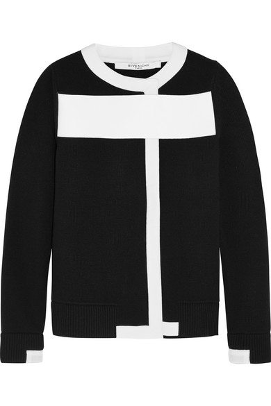 WOMAN WOOL-BLEND CARDIGAN WITH WHITE TRIM BLACK
