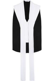 Pintucked top in black and white silk crepe de chine
