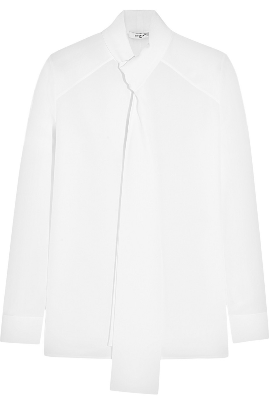 Givenchy Pussy-Bow Blouse in White Silk Crepe De Chine, Women's, Size: 34