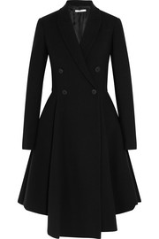 Peplum coat in black stretch-wool