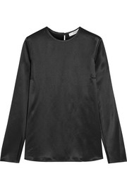 Givenchy Open-sleeved top in black silk-satin