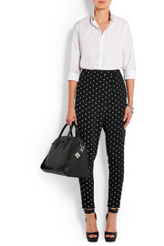 Tapered pants in cross-print black cady