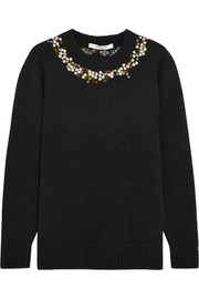 Embroidered sweater in black wool-blend