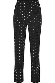 Straight-leg pants in cross-print black cady