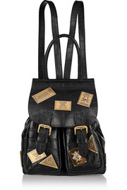 Embellished croc-effect leather backpack