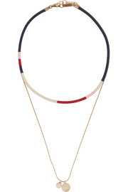 Set of two gold-plated, cotton and bead necklaces