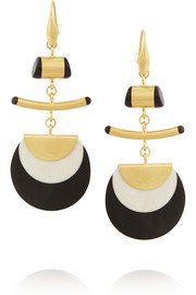 Gold-plated, horn and bone earrings