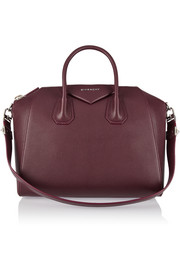 Medium Antigona bag in burgundy textured-leather
