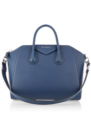 Medium Antigona bag in storm-blue textured-leather