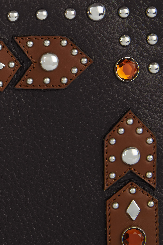 Givenchy Pochette Classic Iconic grand modèle en cuir noir et marron à ornements