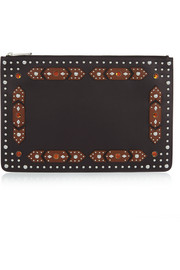 Classic Iconic large embellished pouch in black and brown leather
