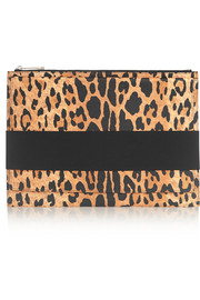 Clutch in leopard-print textured-leather