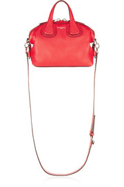 Micro Nightingale shoulder bag in red textured-leather