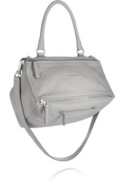 Medium Pandora bag in light-gray textured-leather