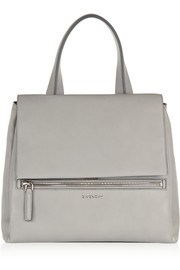 Medium Pandora Pure bag in light-gray textured-leather