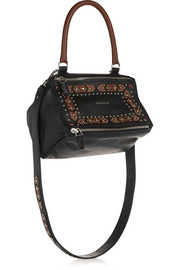 Small Pandora shoulder bag in embellished black textured-leather