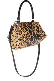 Small Pandora shoulder bag in leopard-print washed-leather
