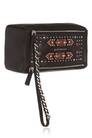 Small Pandora wristlet bag in embellished black textured-leather