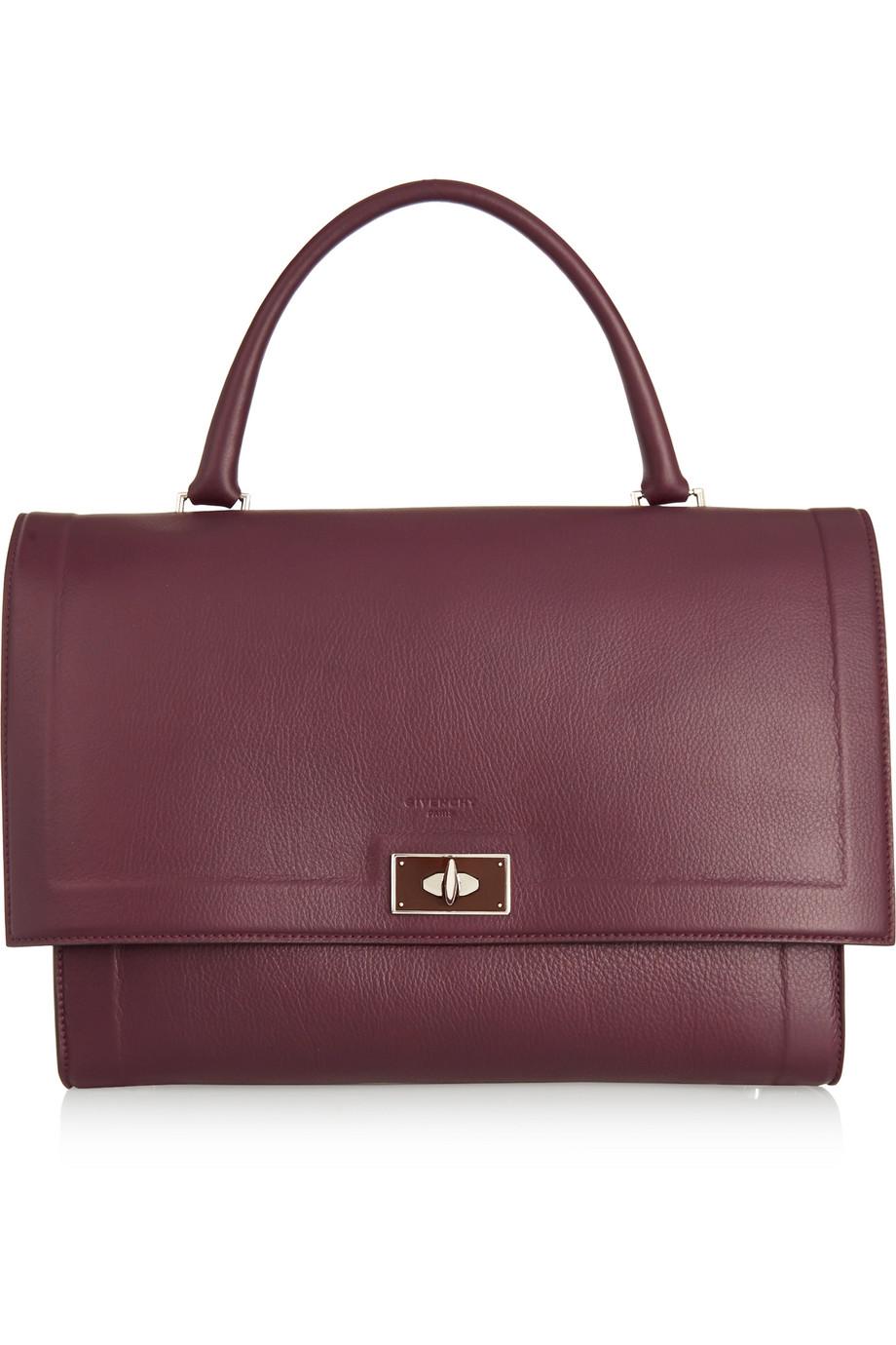 Givenchy Medium Shark Bag in Burgundy Textured-Leather, Women's